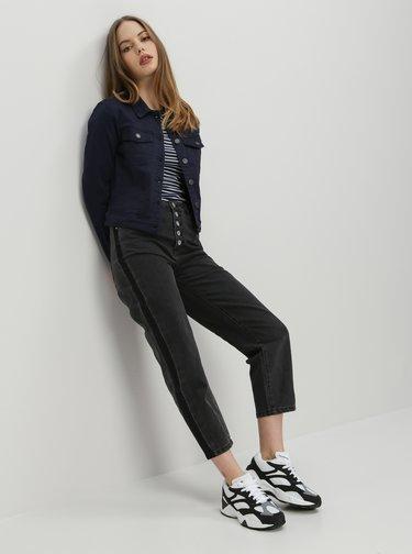 Tmavě šedé zkrácené straight fit džíny ONLY Kelis
