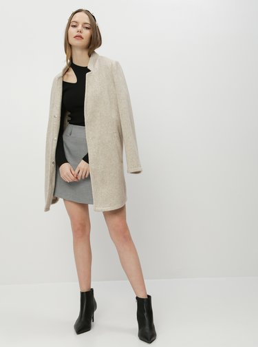 Béžový ľahký kabát VERO MODA Brushedka