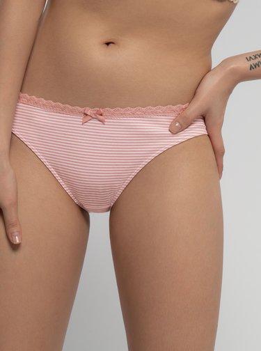 Sada troch vzorovaných nohavičiek v bielej a rúžovej farbe Dorina Mila
