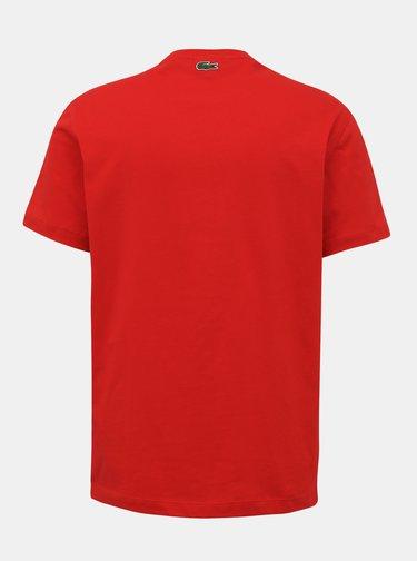 Červené pánské tričko s potiskem Lacoste