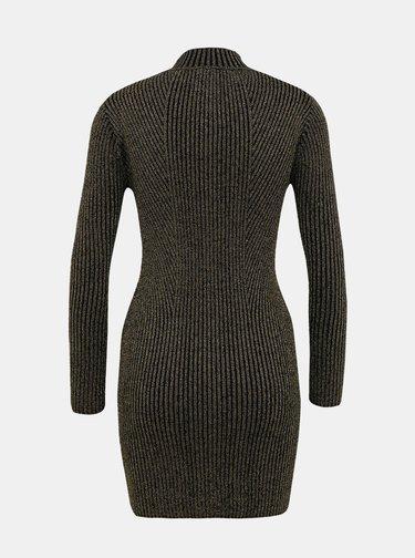 Svetrové pouzdrové šaty ve zlato-černé barvě TALLY WEiJL Kelly