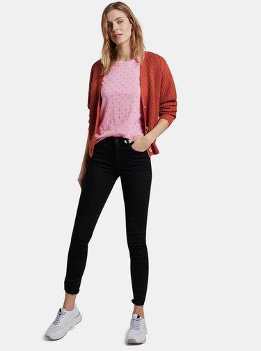 Rúžové dámske vzorované tričko Tom Tailor Denim