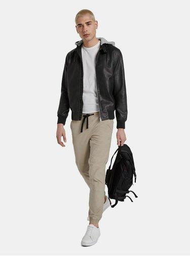 Čierna pánska koženková bunda Tom Tailor Denim