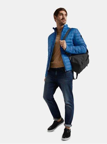 Modrá pánska vzorovaná prešívaná vodeodpudivá bunda Tom Tailor