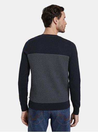 Tmavě modrý pánský pruhovaný svetr Tom Tailor