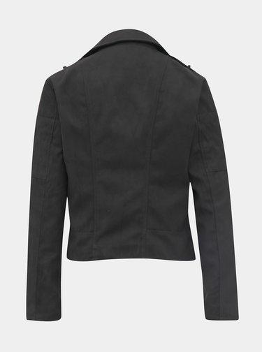 Čierna bunda v semišovej úprave Jacqueline de Yong Peach