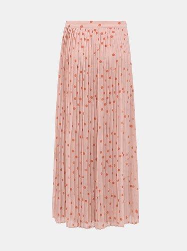 Rúžová bodkovaná plisovaná maxi sukňa VILA Yrsa