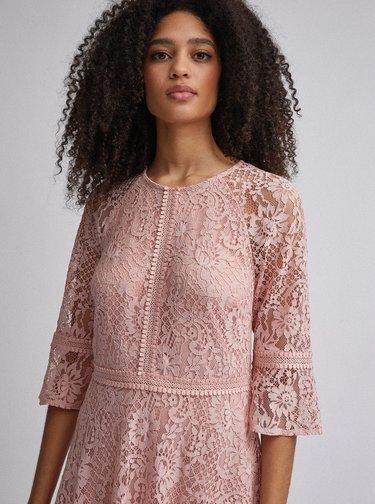 Růžové krajkové šaty Dorothy Perkins