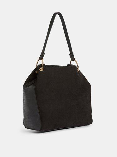Černá kabelka v semišové úpravě s hadím vzorem Dorothy Perkins