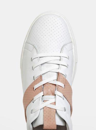 Biele dámske kožené tenisky WILD