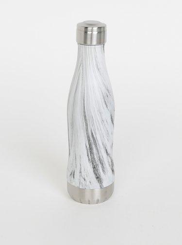 Biela vzorovaná fľaša GLACIAL Birch Wood 400 ml
