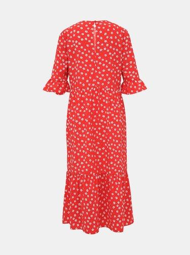 Červené květované midi šaty Miss Selfridge