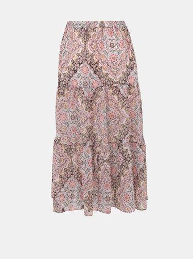 Rúžová vzorovaná midi sukňa Miss Selfridge
