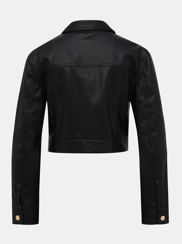 Čierna koženková krátka bunda TALLY WEiJL