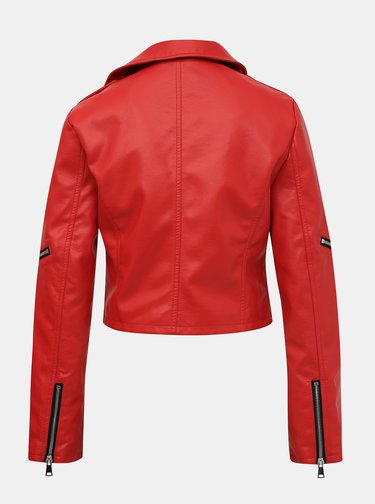 Červená koženková krátka bunda TALLY WEiJL
