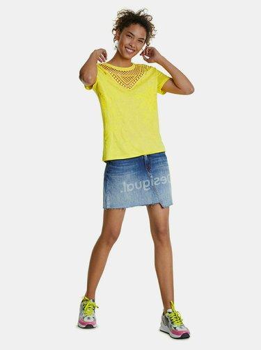Žlté tričko s krajkou a výšivkou Desigual Tropic Thoughts