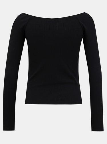 Čierne rebrované basic tričko TALLY WEiJL