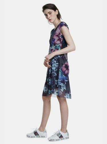 Tmavomodré vzorované šaty Desigual Cleveland