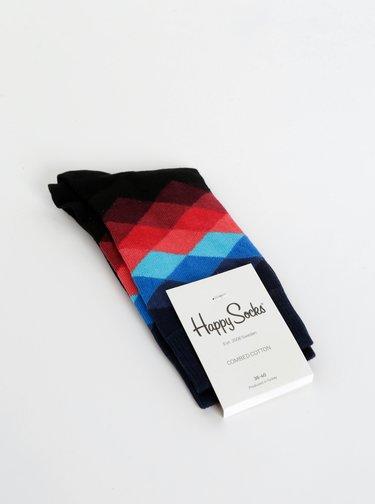 Sosete barbatesti, negre cu imprimeu, model Faded Diamond de la Happy Socks