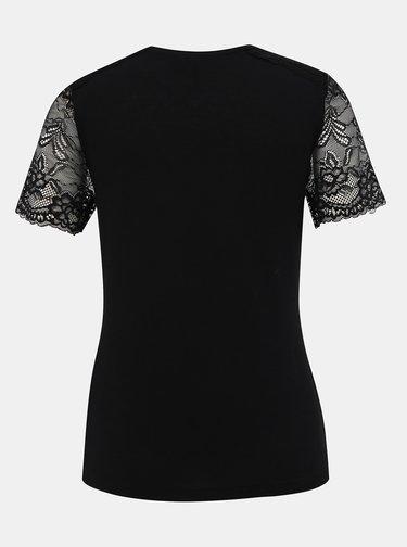 Černé tričko s krajkou VERO MODA Honey