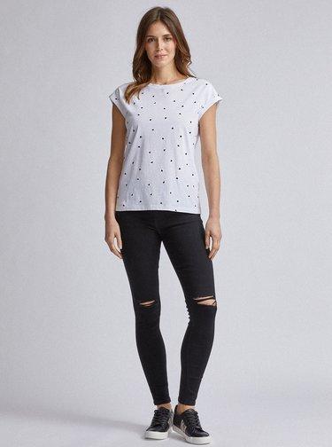Biele vzorované tričko Dorothy Perkins