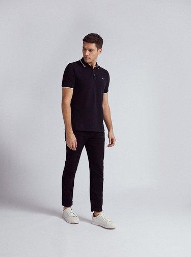 Černé polo tričko Burton Menswear London