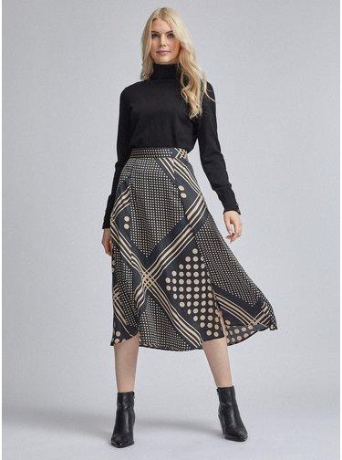 Černá vzorovaná midi sukně Dorothy Perkins