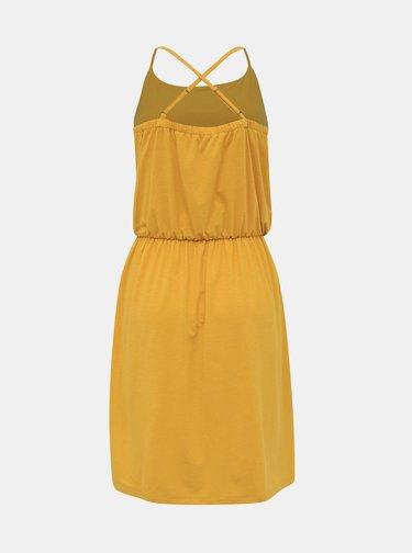 Hořčicové basic šaty s příměsí lnu ZOOT Baseline Radka
