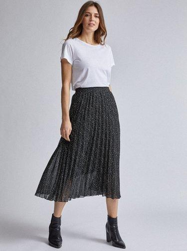 Černá vzorovaná plisovaná midi sukně Dorothy Perkins