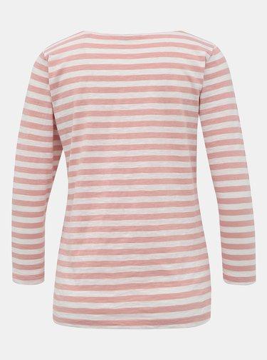 Bielo-ružové dámske pruhované basic tričko ZOOT Baseline Atina