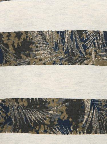 Šedo-khaki pruhované pánské tričko Shine Original