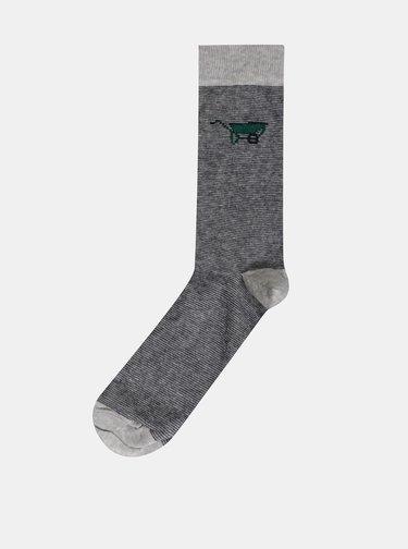 Sada piatich párov pánskych vzorovaných ponožiek v šedej, zelenej a modrej farbe M&Co