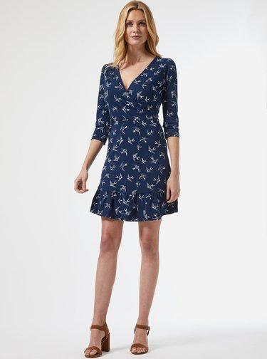 Tmavě modré vzorované šaty Dorothy Perkins