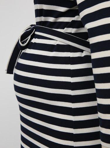 Tmavě modré pruhované těhotenské šaty Mama.licious Selina
