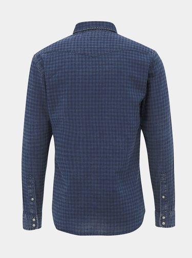 Tmavomodrá kockovaná slim fit košeľa Jack & Jones Weston