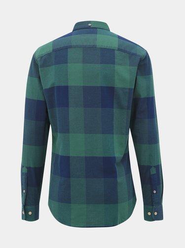 Modro-zelená kostkovaná slim fit košile Jack & Jones Indie