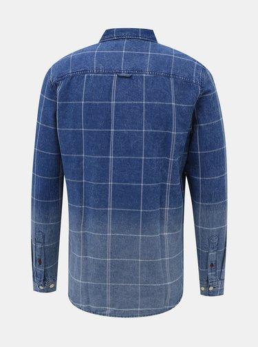 Modrá kostkovaná džínová slim fit košile Jack & Jones Fade