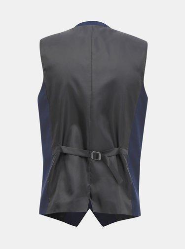 Tmavě modrá slim fit vesta s příměsí vlny Jack & Jones Solaris