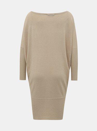 Béžové trblietavé svetrové šaty ONLY Skylar