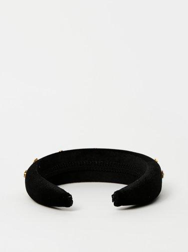 Čierna sametová čelenka s kamienkami Vero Moda Katie
