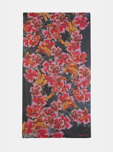 Růžový květovaný šátek Desigual Banana
