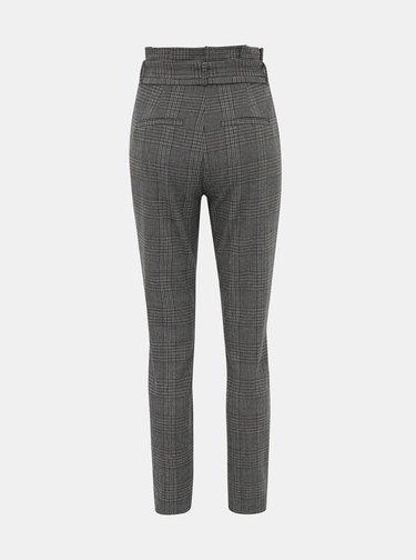 Šedé kostkované kalhoty VERO MODA