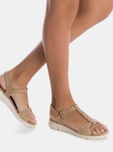 Béžové dámske sandále v semišovej úprave Xti