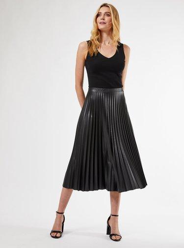 Černá plisovaná midi sukně s povrchovou úpravou Dorothy Perkins