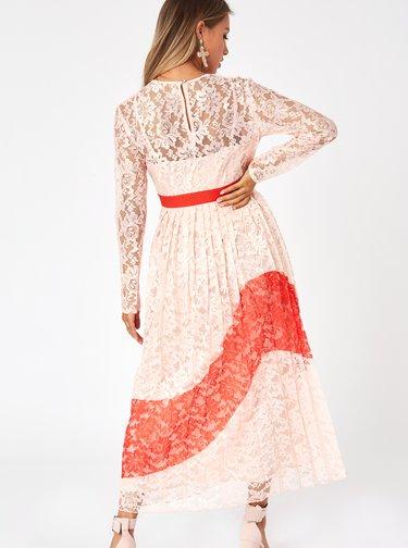 Světle růžové krajkové plisované maxišaty Little Mistress