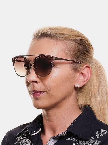 Hnedé dámske slnečné okuliare s leopardím vzorom Guess by Marciano