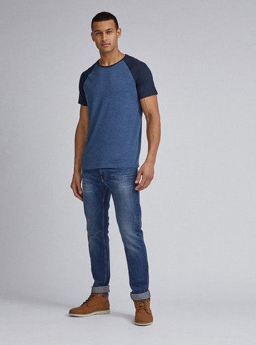 Tmavomodré basic tričko Burton Menswear London