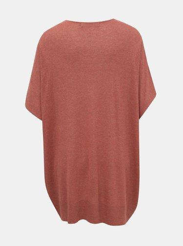 Tehlový oversize sveter s prímesou ľanu VERO MODA Eleo