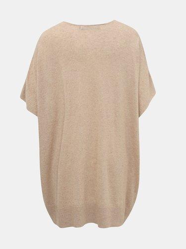 Béžový oversize svetr s příměsí lnu VERO MODA Eleo