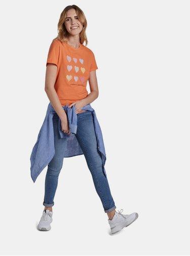 Oranžové dámské tričko s potiskem Tom Tailor